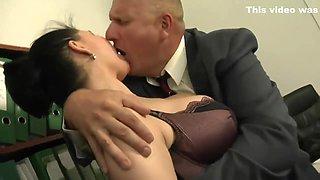 Dark Busty Italian Secretary Gets Extra Work From Her Boss
