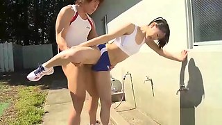 Japanese teen caught during sport session Part 2 on Xasiat