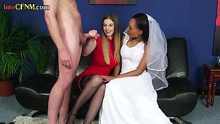 CFNM ebony bride threeway tugging subjects cock