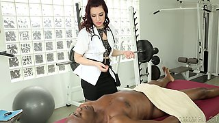 Slutty doctor takes his black dick into her hot snatch