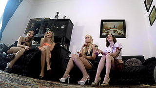Hot lesbian sluts with long legs upskirted at party, homemade, GoPro