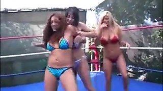Francesca Krystal and Summer 3 way wrestling stj