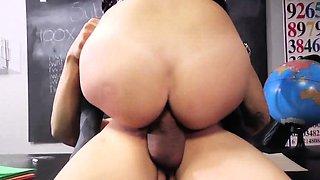 Naughty schoolgirl rides