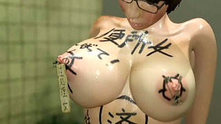 d anime gets her bigtits clamps and rides cock