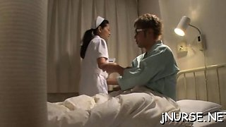 Nurse gets her pussy licked and jerks off dick to taste jism