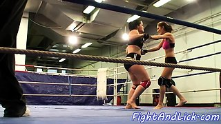 Busty babes wrestling naked in the ring