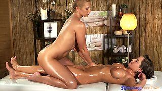 Smooth lesbo pussy drilling on the massage table. HD video