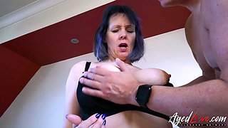 Big breasted mature lady Tigger keeps on riding strong cock