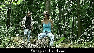 Claudie is tied and fucked wild in the forest
