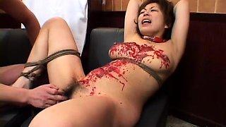 Wild Asian bondage fetishist engages in a hardcore threesome