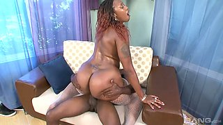 Giant black butt of Ms Cleo rides big dick and takes dick in doggy pose