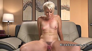 Solo blonde Milf fucks fast machine