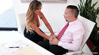 Aubrey Black spreads her legs in stockings for a handsome man