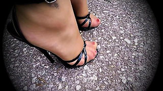 Black Patent Domina Sandals 5,5inch Heels