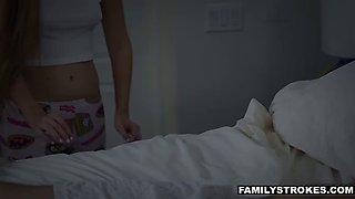 stepdad drills scared teen while her mom sleeps