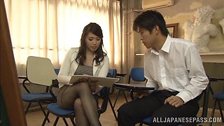 Breathtaking teacher in pantyhose giving her student superb handjob
