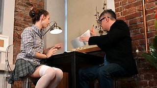 Lovesome schoolgirl was seduced and poked by older schooltea