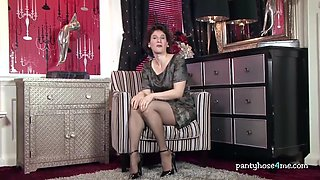 milf in high heels stripteases
