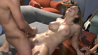 Chanel Preston in bra acquires cum on tits after getting shoved doggystyle