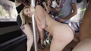 Horny women are naked in the bus, getting their pussies fucked