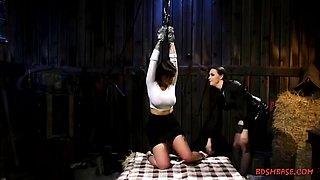 Horny busty lesbians enjoying hardcore bondage