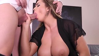 Housewife in Lacy negligee showed her lover big Tits and gave him the...