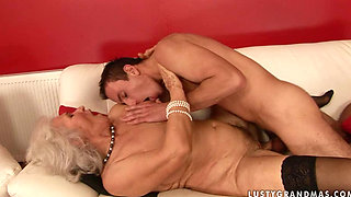 Hot blonde granny Norma fucked by her young lover