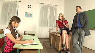 Frivolous teacher Kathia Nobili seduces one sexy babe and they arrange dirty threesome sex