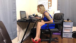 Secretary Reagan Lush Nylon Stockings Footjob