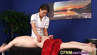 Clothed nurse gives head