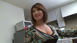 Big boobed Asian wifey treats her kinky guy with nice supper and solid BJ