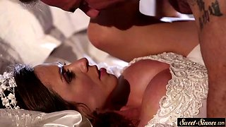 Busty milf fucked deeply in wedding dress