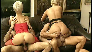 Short haired blonde in lingerie and friend group fucked
