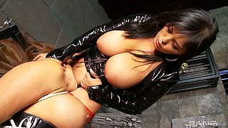 Juggy mistress in latex and stockings Jasmine Black is punishing cunt of one tied up busty whore