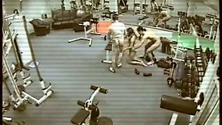 Security cam in gym caught dirty MMF threesome with new instructor