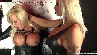Filthy blonde dominates spits licks fucks busty lesbian slut