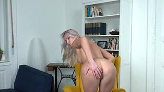 Small boobs blondie Angelika Grays drops her panties to play