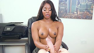 Smoking hot black girl Jasmine Webb rides your big white cock