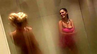 British blond doxy in some other FFM trio in the shower