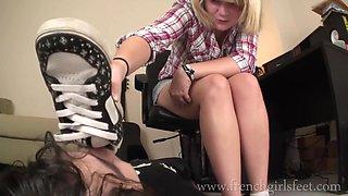 French girl feet worship slave