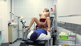 Spanish hottie Bianka Blue is fucked right on the gynecological chair