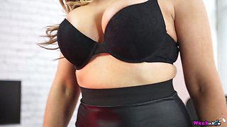 Whorish busty secretary Kellie OBrian gets her plump ass jizzed
