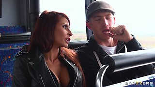 Quickie FFM threesome in the bus with Madison Ivy and Jasmine Jae