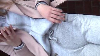 Teen with extrem tight legging ass and cameltoe