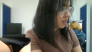 babe with glasses plays with pussy at work on camboozle.com