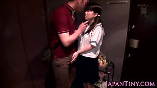Petite asian schoolgirl gives thighjob