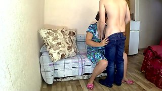 Mom made her stepson a nice blowjob and anal sex. Love stepmom and son