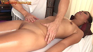 Skinny Thai girl gets a massage and a hard cock
