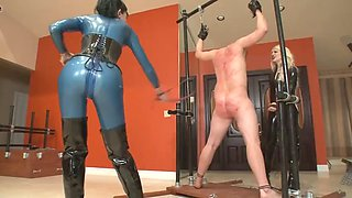 Harsh punish from two mistress
