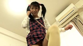 Japanese home porn with a breasty woman in love with knob
